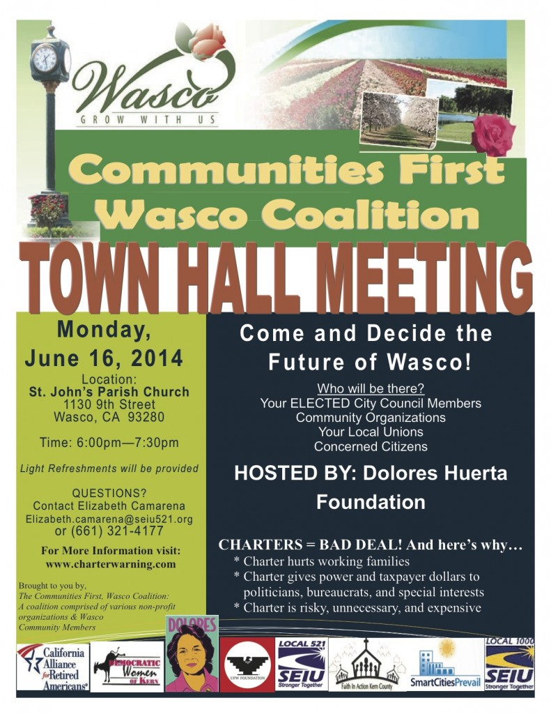 Wasco- TOWN HALL MTG Flier for June 16, 2014