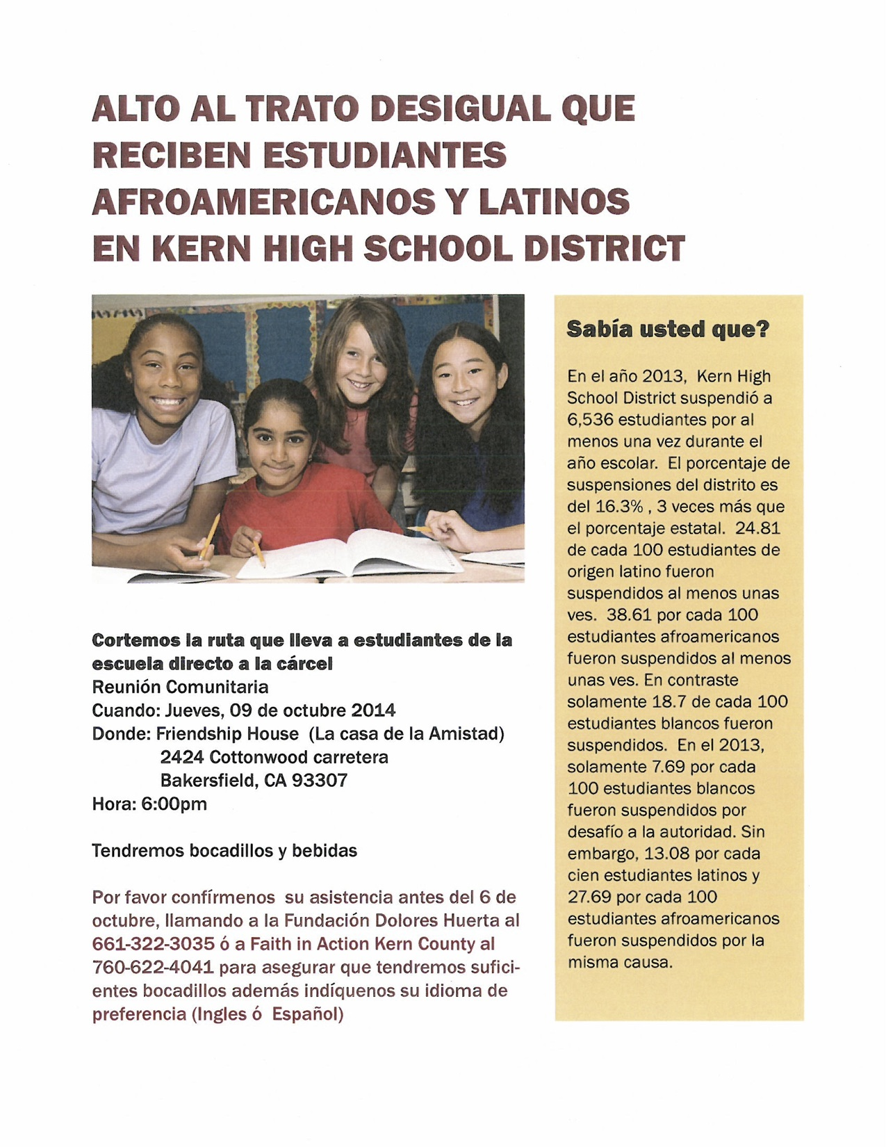 Oct 9 Community Meeting Flyer- Spanish