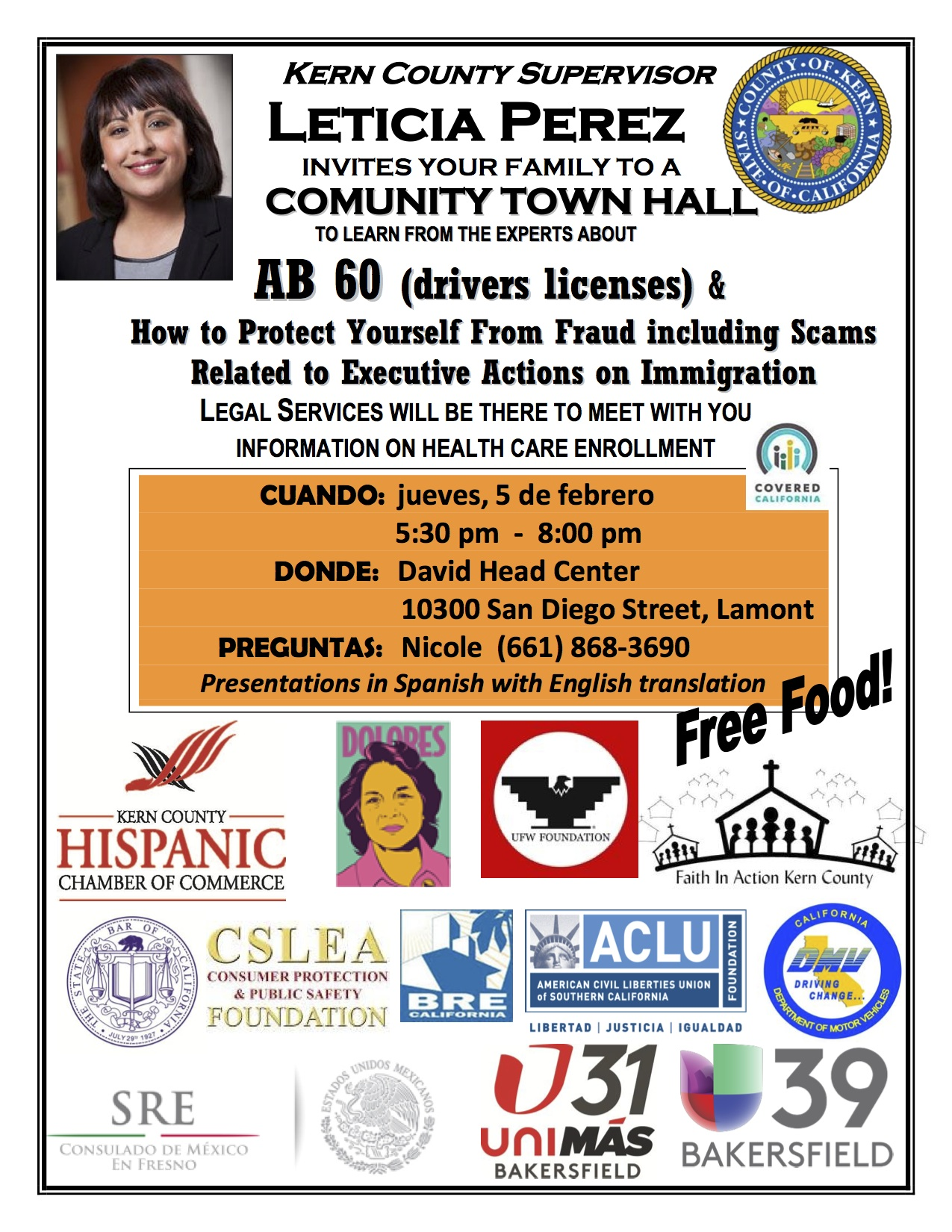 Leticia Perez town hall flyer.English