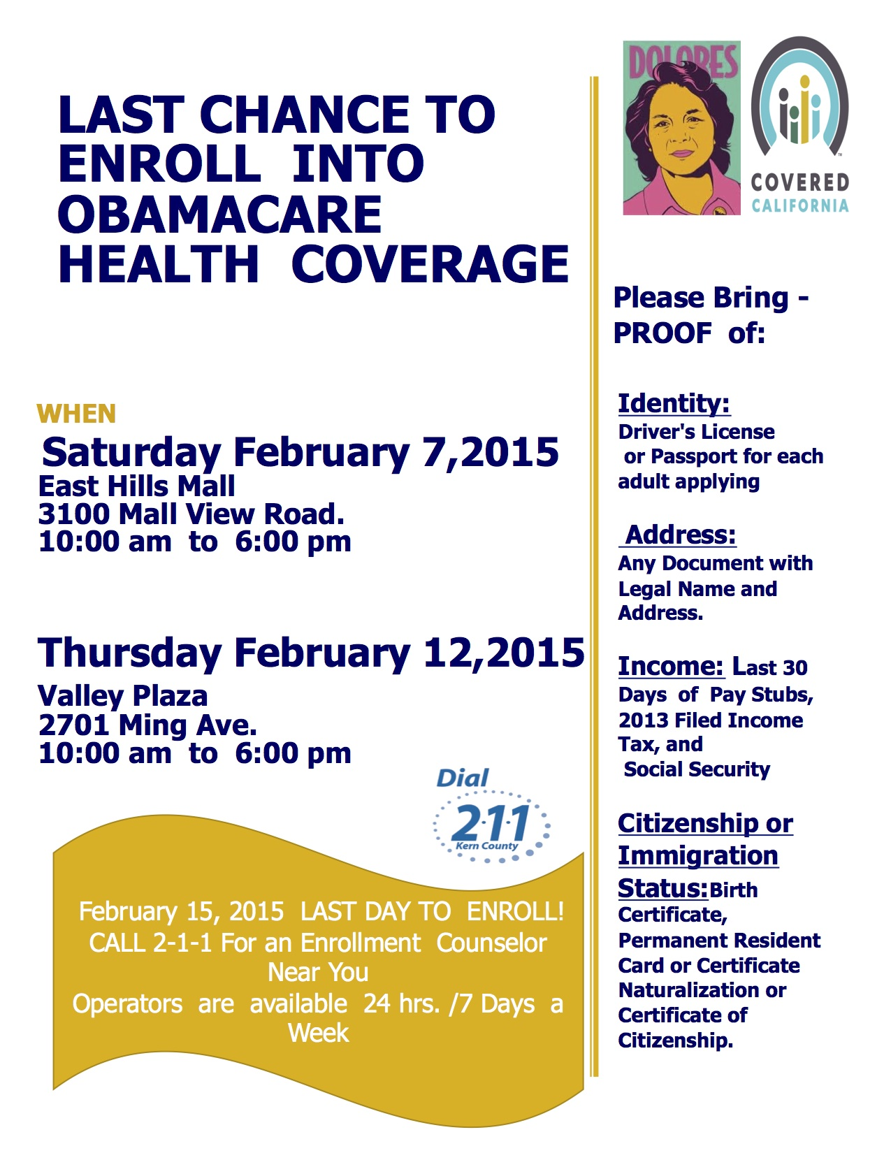 Obamacare Event Flyer 2-15