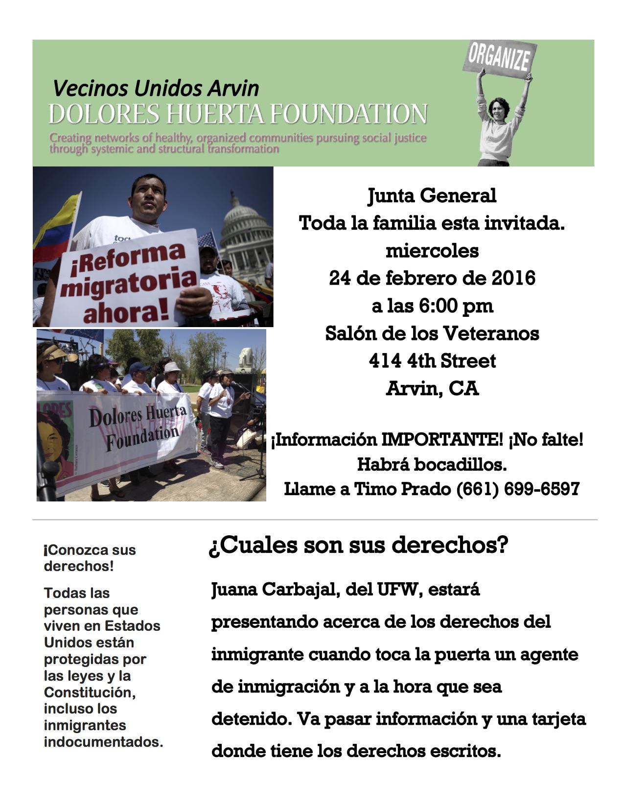 Evento: Junta General Vecinos Unidos Arvin, mier. 24/2/16