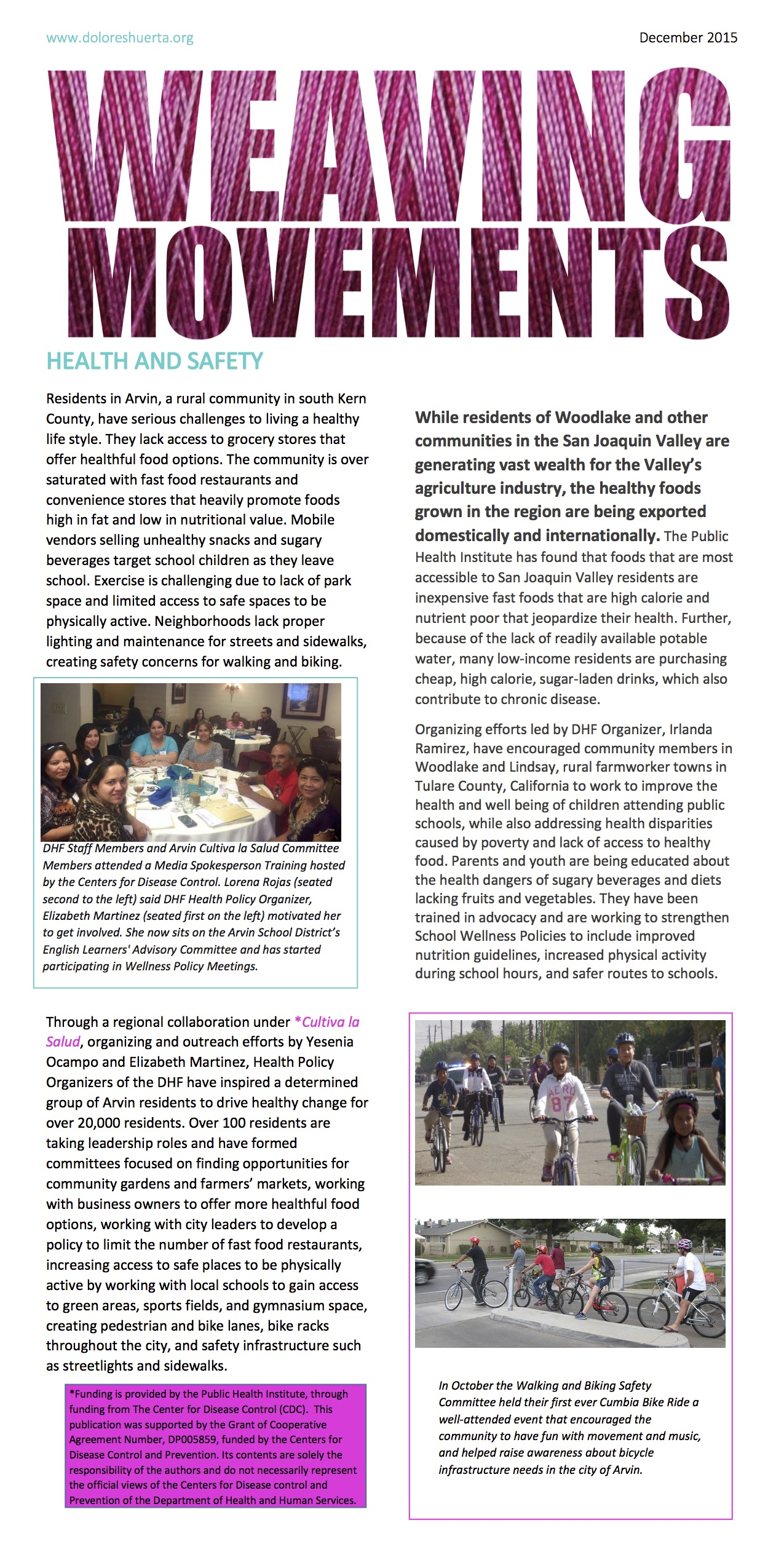 Weaving Movements Newsletter, Health and Safety