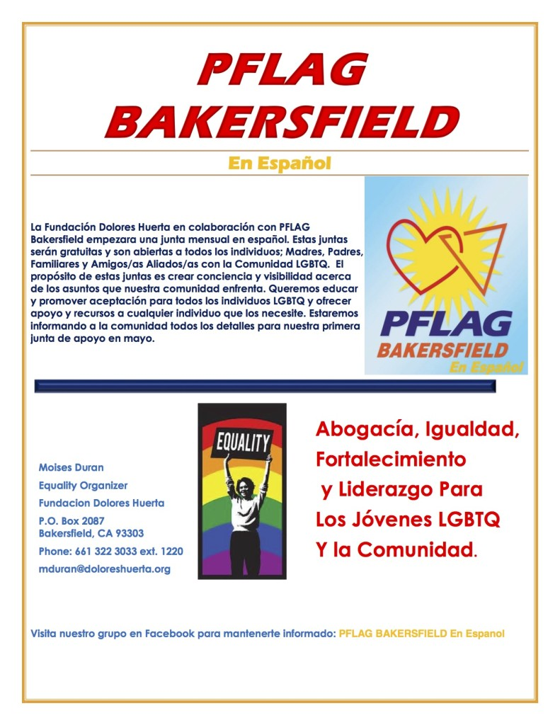 PFLAG Bakersfield flyer espanol