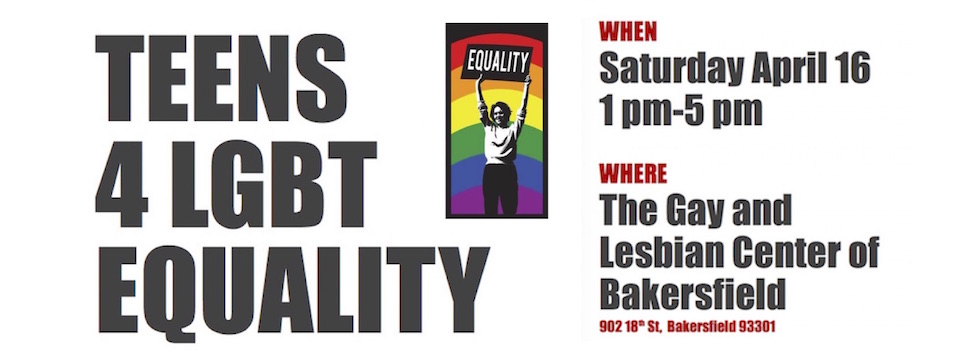Event: Teens 4 LGBT Equality, Sat. 4/16, 1pm
