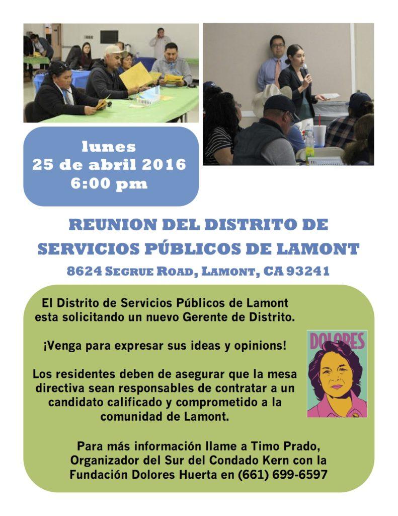 Lamont Public Utility District Board Meeting Flyer 4-25 SPANISH