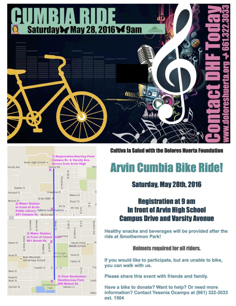 Cumbia Bike Ride Flyer English 5-28-16