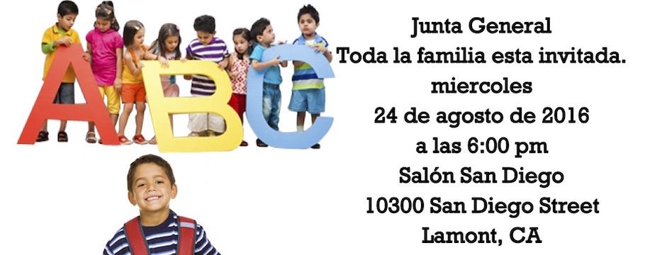 Evento: Vecinos Unidos Lamont Junta General ¡Regreso a la Escuela! mier. 24/8/16, 6pm