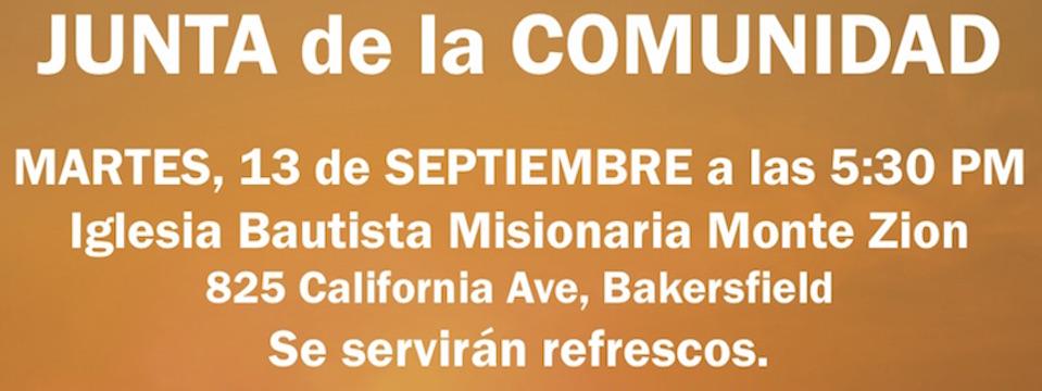 Evento: Junta de la Comunidad, mar. 13/9/16, 5:30pm