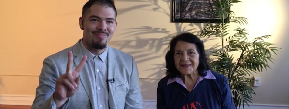 Dolores Huerta In Action: Commemorating National Voter Registration Day with Salvador Santana