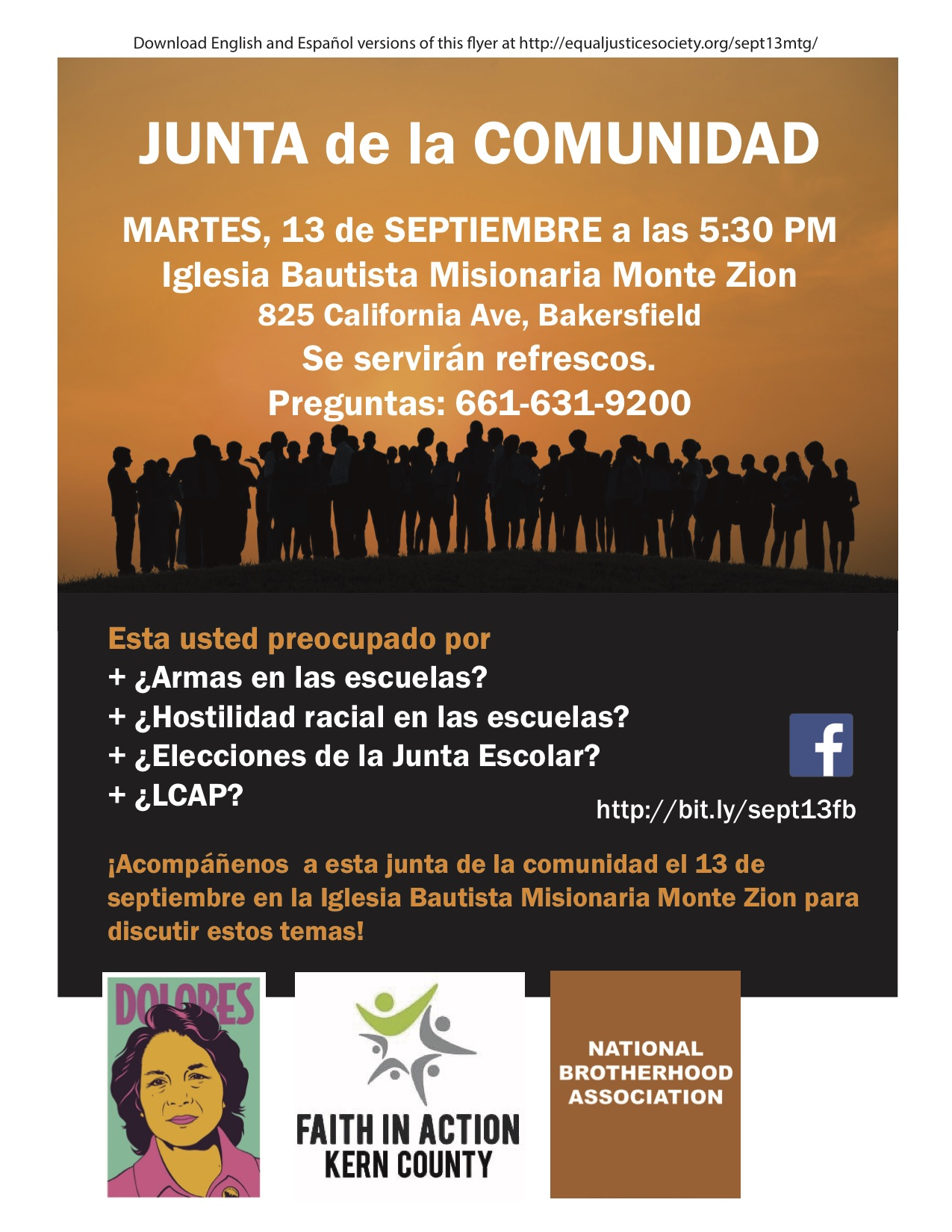 Flyer Community Meeting Sept13 v20160902 with logos Espanol