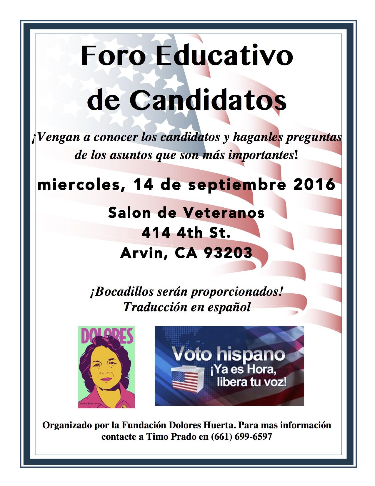 Foro de Candidatos Arvin 9-14-16