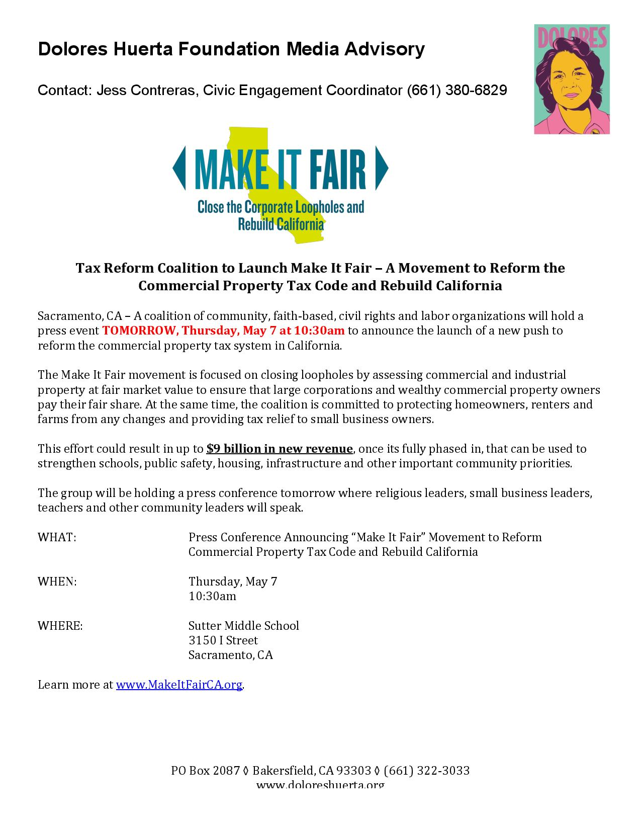 Media Advisory: Make It Fair Launch 5-7-15