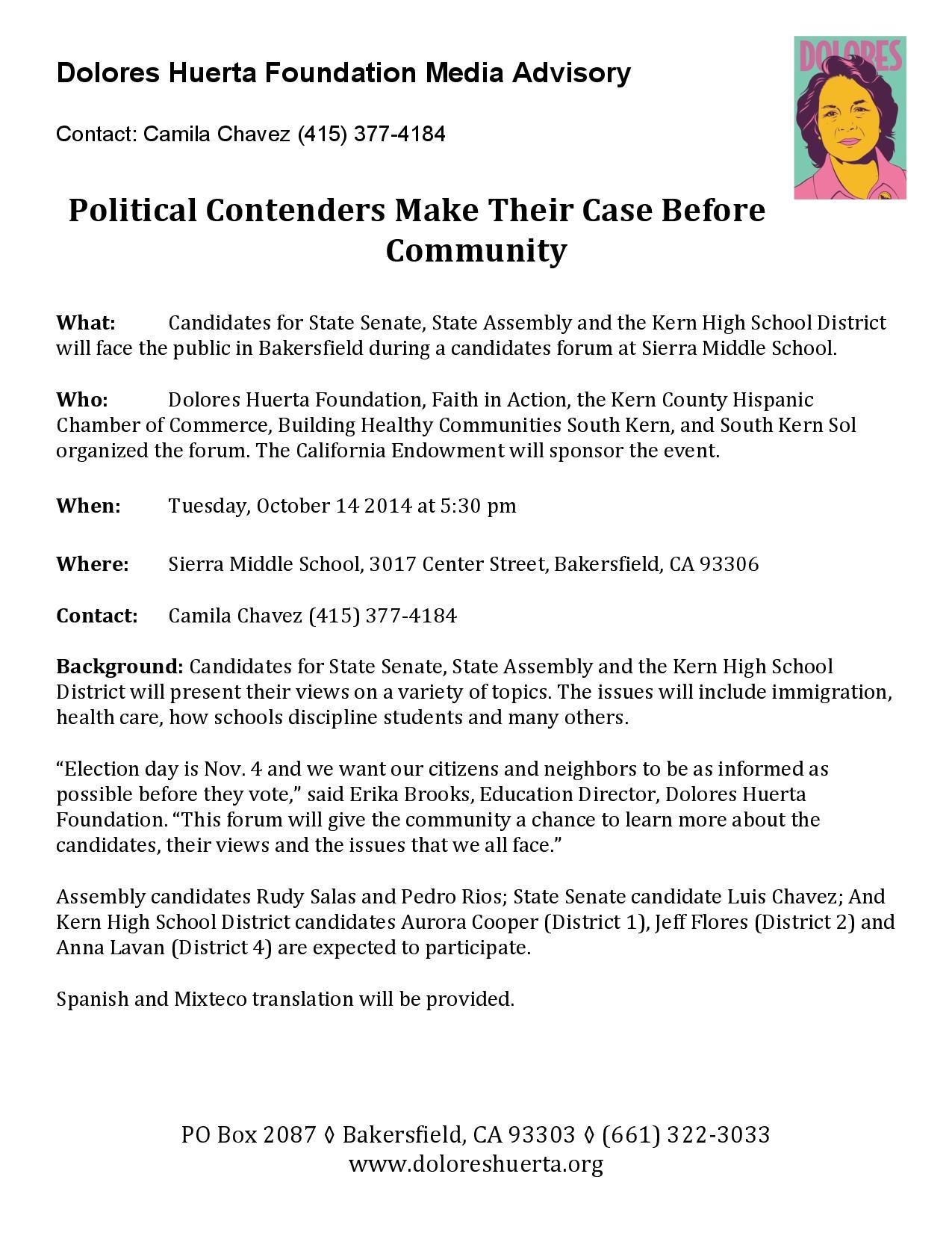 Media Advisory: Candidates Forum 10-13-14