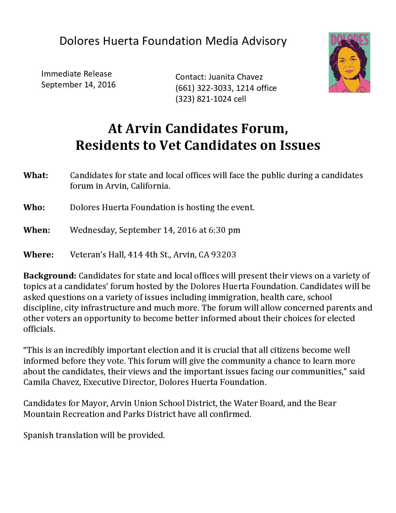 Media Advisory: Arvin Candidates Forum 9-14-16