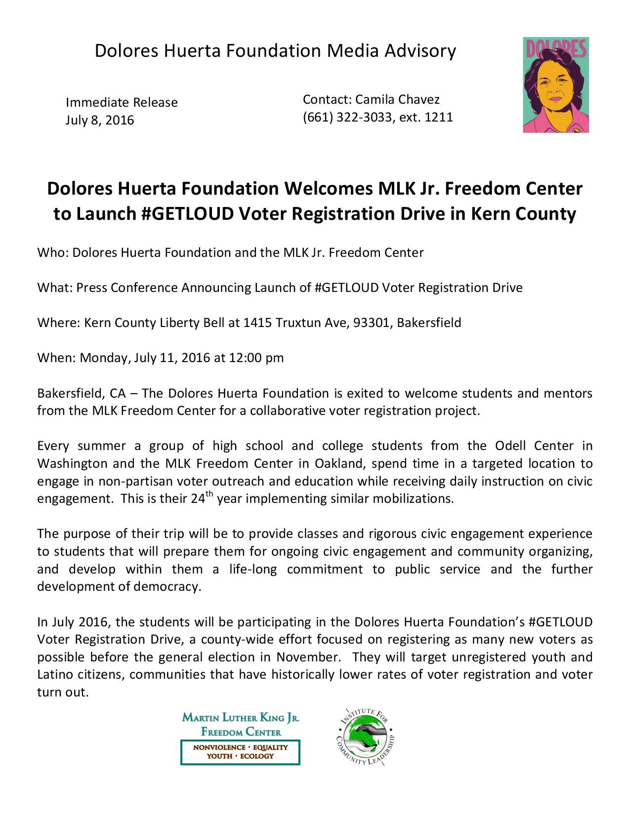 Media Advisory: MLK Students Voter Registration Drive 7-16