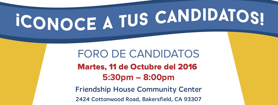 Evento: Foro de Candidatos, Mar. 11/10/16, 5:30pm