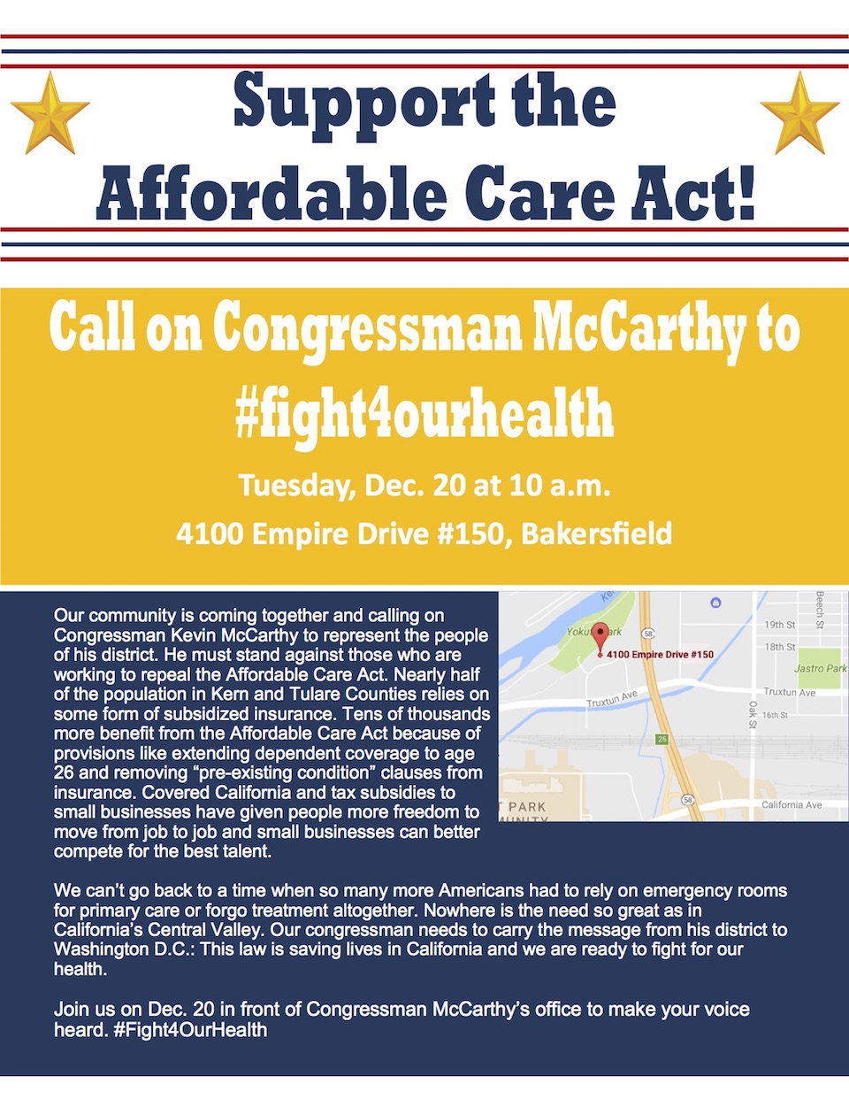 Call to Action: Rally to Call on Congressman McCarthy to