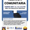 Evento: Reunión Comunitaria de Disciplina Escolar, Vier. 15/9/17, 6:30 pm