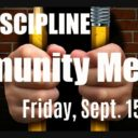Event: School Discipline Community Meeting, Fri. 9/15/17, 6:30pm