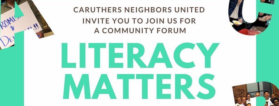 Caruthers Literacy Matters Community Forum, Wed. 3/4, 6pm