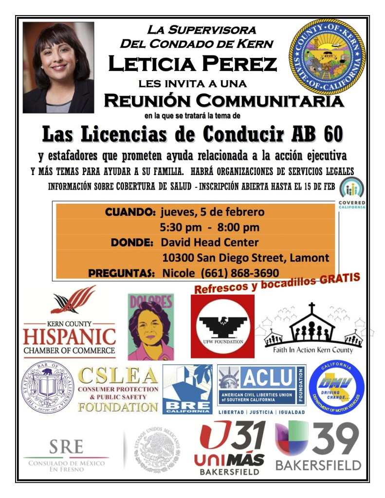 Leticia Perez town hall flyer