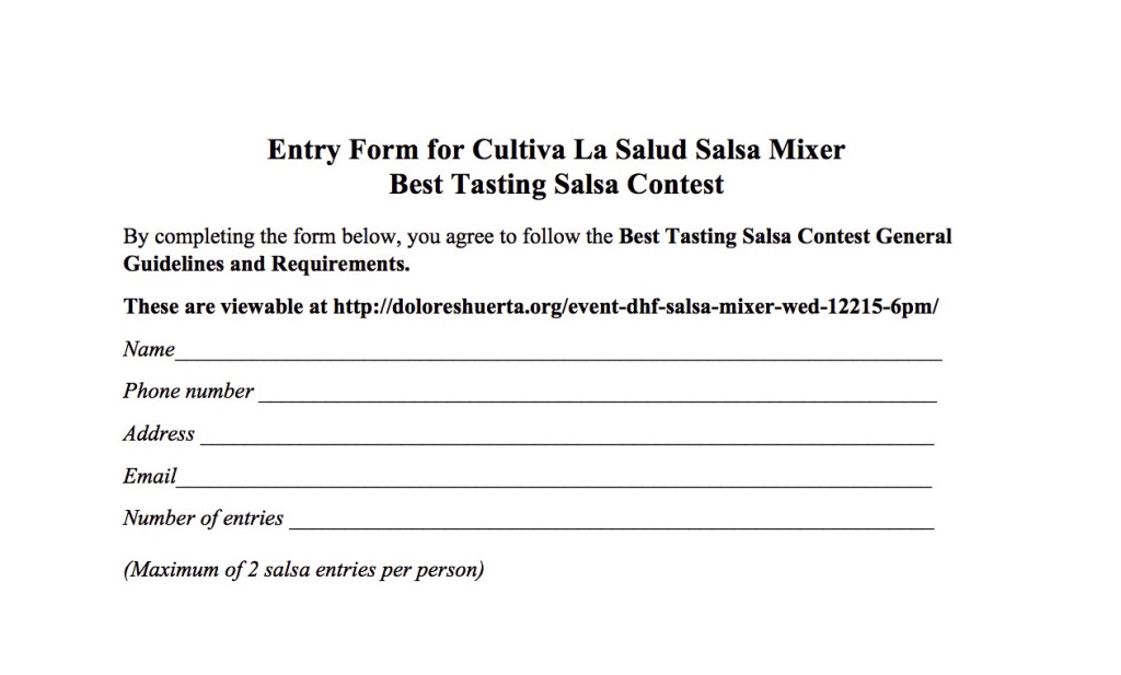 Cultiva La Salud Salsa Mixer Rules and Information