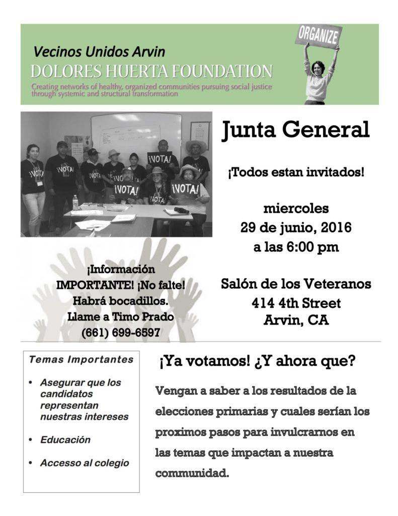 Arvin General Meeting Flyer 6-29-16