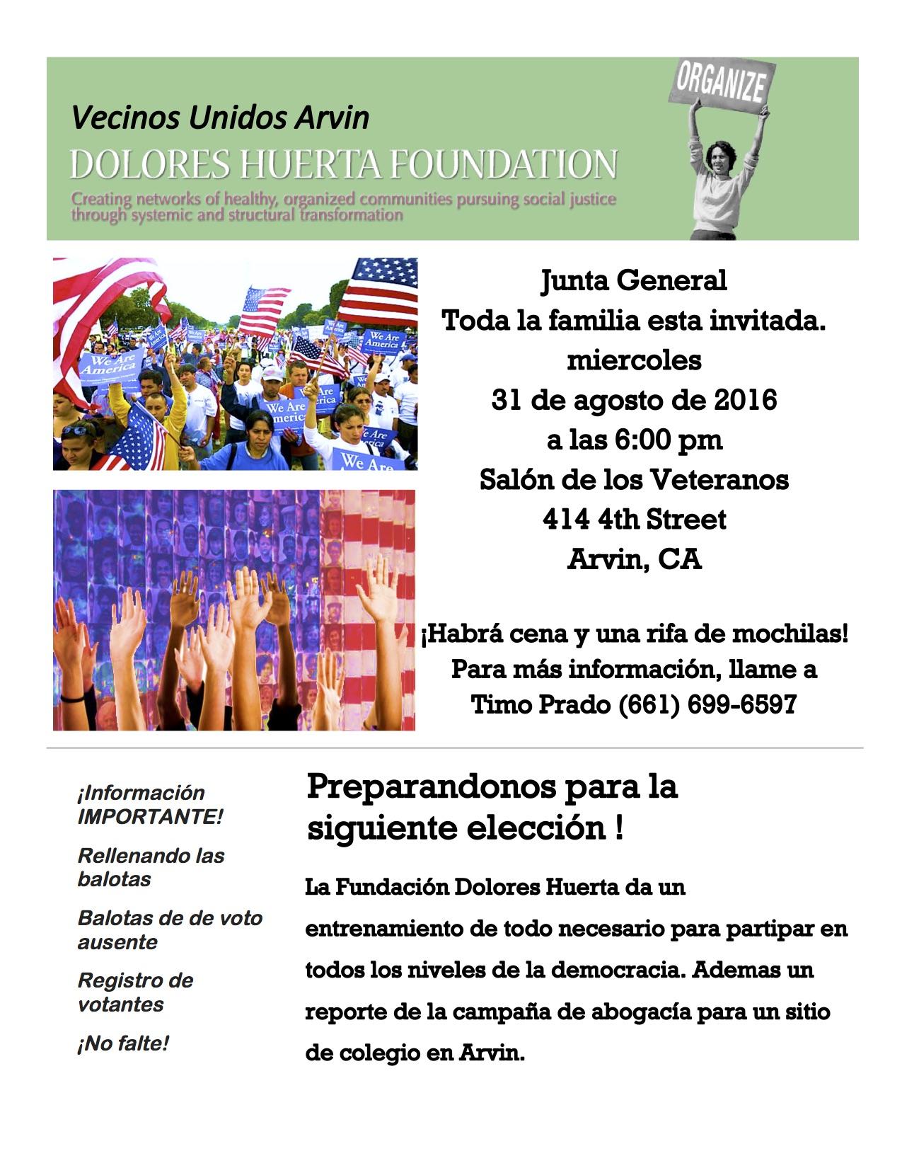 Arvin General Meeting Flyer 8-31-16