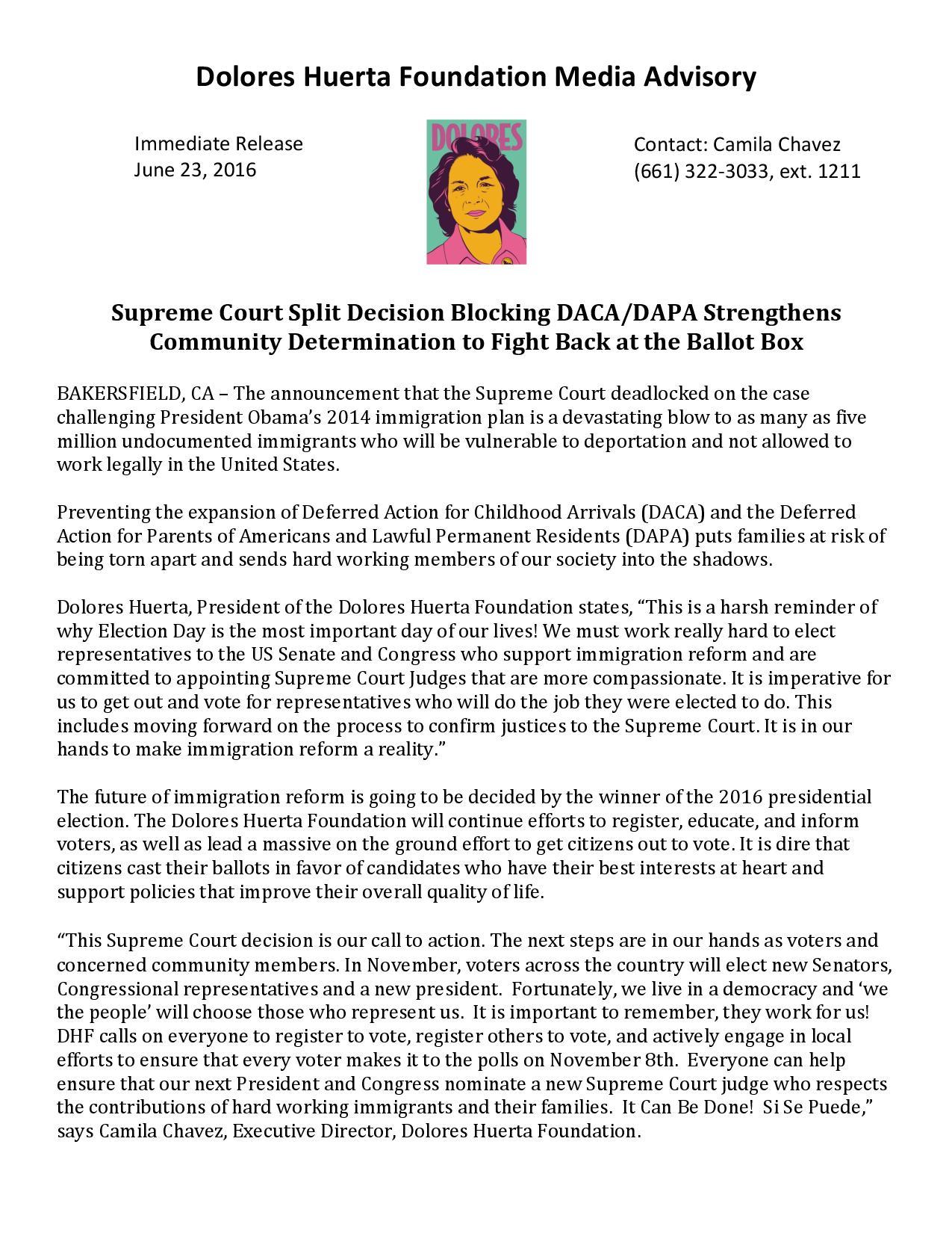 Media Advisory: DACA DAPA Decision 6-23-16