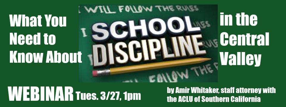 "Event: Webinar ""School Discipline in the Central Valley"" Amir Whitaker, Tues. 3/27/18, 1pm"