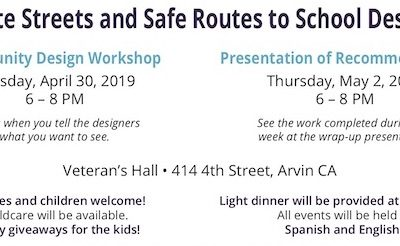 City of Arvin Announces Safe Routes to School Outreach Events, Thur. 5/2/19