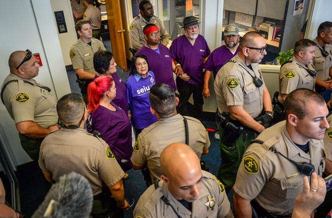 Dolores Huerta Arrested at Fresno Home Care Workers Union Protest