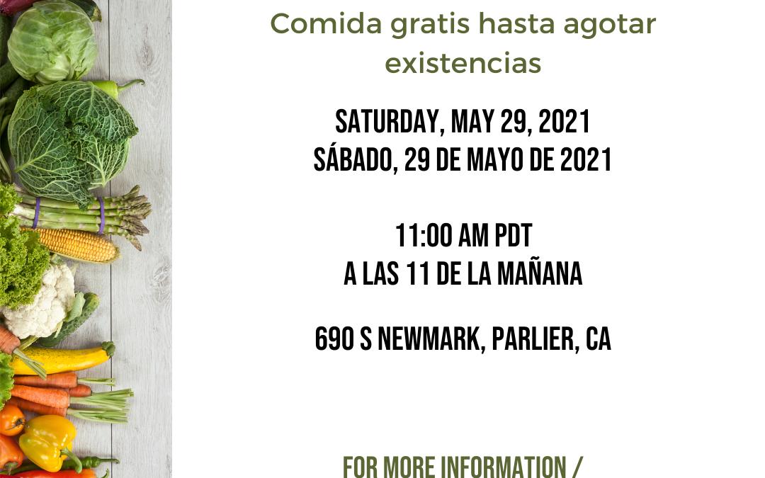 FREE FOOD: Parlier Food Bank May 29th, 2021