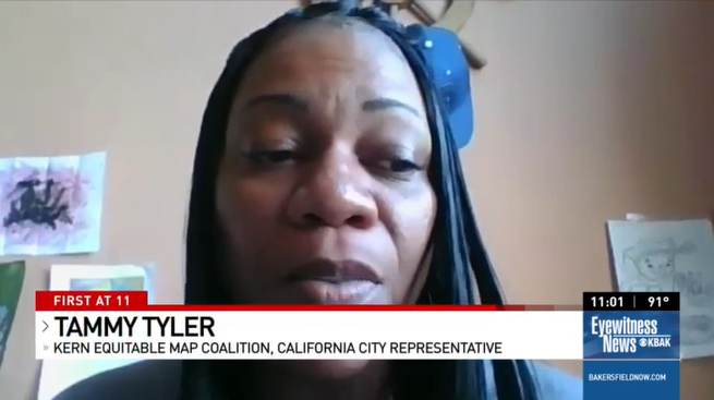 Vecino Unidos® member Tammy Tyler speaks on behalf of the Kern Equitable Map Coalition